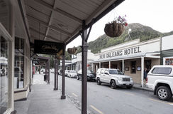 Old classic buildings and shops on Buckingham Street in the historic town of Arrowtown Stock Photos