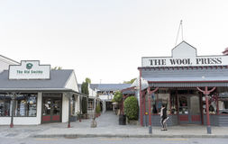 Old classic buildings and shops on Buckingham Street in the historic town of Arrowtown Stock Images