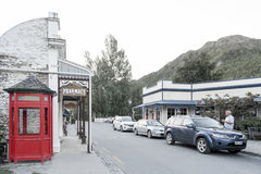 Old classic buildings and shops on Buckingham Street in the historic town of Arrowtown. Arrowtown, New Zealand - February 2016: Old classic buildings and shops Royalty Free Stock Photo