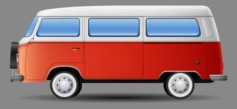 Old classic camper minivan. Illustration of Old classic camper minivan Royalty Free Stock Photography