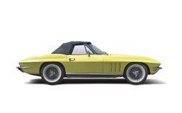 Old classic car Chevrolet Stingray. Yellow Chevrolet Stingray isolated on white Royalty Free Stock Photo