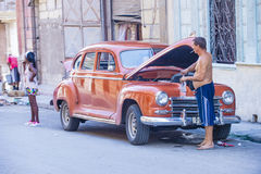 Old classic car in Cuba Stock Images