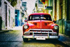 Old classic car in Habana. City with oil paint effectn Royalty Free Stock Photography
