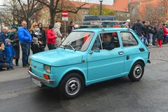 Old classic car Polski Fiat 126p on a street parade Stock Image