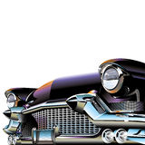 Old Classic Car. Old classic retro car with headlights and chrome radiator stock illustration