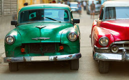 Old classic car on street of Havana, Cuba.  Stock Photo