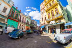 Old classic cars and colorful buildings in Havana Royalty Free Stock Image