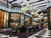 Old classic cars are displayed at River City Bangkok under named `A journey down memory lane`. July 26, 2017 - Bangkok, Thailand: old classic cars are displayed Stock Image