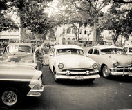 Old classic cars in Havana, Cuba Royalty Free Stock Images