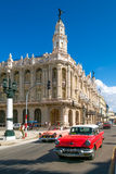 Old classic cars next to the Great Theater in downtown Havana Stock Image