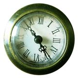 Old classic clock in a rustic green yellow look with an isolated white background stock photos