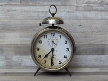 Old Classic Clock, Time, Timing, Alarm, Vintage, Alarm Clock on bleached and whitewash beech wood background. White wood texture background. Wood planks stock images