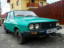 Old, classic, functional Dacia from 1980. S in the parking lot stock image