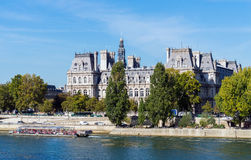 Old classic palace on bank of river Seine in Paris Royalty Free Stock Photos