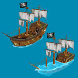 Old classic pirate ship on water and flooded. Old classic pirate ship with black flag on water and flooded. Vector image in cartoon style for your design needs Stock Photos