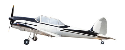 Old classic plane isolated white stock photography