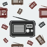 Old Classic Radio Seamless Pattern. Editable Old Classic Radio Vector Illustration Seamless Pattern Royalty Free Stock Photos