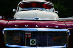 Old classic red car inlet details Stock Photography