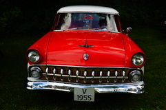 Old classic red car inlet details Royalty Free Stock Photo