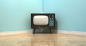 Old Classic Television In A Room. An old vintage television set in the corner of an empty room with light blue wall and a reflective wooden floor Stock Photography