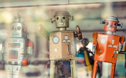 Old classic tin toy robots Stock Photography
