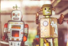 Old classic tin toy robots Stock Image