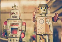 Old classic tin toy robots. In old vintage tone Royalty Free Stock Photography