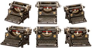 Old classic typewriter (different angles). Old classic typewriter (set from different angles) isolated on white background Stock Photography