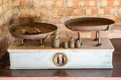 Old classic vintage scale on display, Italy royalty free stock photography