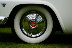 Old classic white car inlet details Stock Images