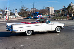 Old classic white convertible car in Havana Stock Photos