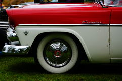 Old classic white and red car inlet details Stock Image