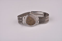 Old classic wrist watch with metal strap Royalty Free Stock Photo