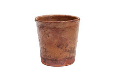 Old clay cup. North Russia, Kargopol town, 19th century. Old homemade clay Cup isolated on white royalty free stock image