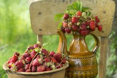 Old clay pot full of fresh red strawberries and ceramic decorative jug with strawberries on the chair royalty free stock photography