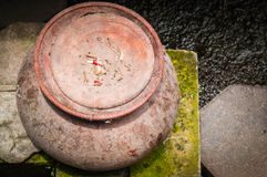 The old clay pot in top view. Royalty Free Stock Photography