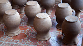 Old clay pots. Old brown clay ceramic pots Stock Photography