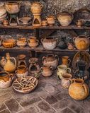 Old clay pots. Close view Stock Image
