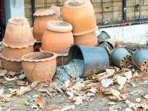 Old clay pots Stock Photo