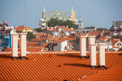 Old clay roof in Pomorie, Bulgaria Royalty Free Stock Photo