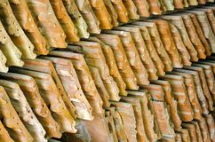 Old clay roofing shingles Royalty Free Stock Image