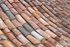 Old clay tile roof detail in horizontal format. Warm tone Royalty Free Stock Photography
