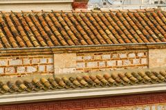 Old clay tile roof royalty free stock image