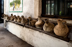 Old clay wine vessels. Spain. Stock Photography