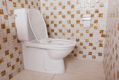 Old clean toilet with old tiles Stock Photography