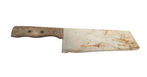 Old cleaver knife isolated on white background.  stock photo