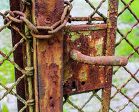 Old clench. In a fence stock images
