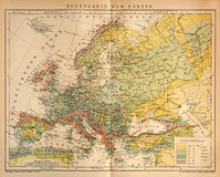 Old Climate Map of Europe. Original print Old Climate Map of Europe made in 1897 stock photos