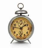 Old Clock. Old silver clock with gold plated face on white background Royalty Free Stock Images