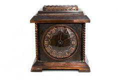 Old clock. Old number flat o'clock white background isolate Royalty Free Stock Images